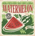 Vector poster template for watermelon farm vintage retro vegetables and fruit label design old paper texture food background Stock Photos