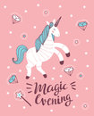 Vector poster with unicorn, magic wand and crystal on the pink background.