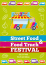 Vector poster with wagon full of tasty summer food, meals, drinks and fruits