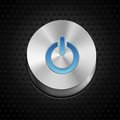 Vector power button metal design element with glowing icon Stock Images