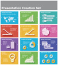 Vector presentation elements set of the charts pie charts and other infographic design for creation Royalty Free Stock Image