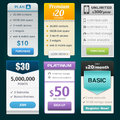 Vector pricing tables for web with different designs Royalty Free Stock Images