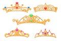 Vector princess crowns, tiaras with gems cartoon set