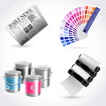 Vector print icon set Royalty Free Stock Photos