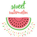 Vector print with watermelon and hand writing quote sweet watermelon inspiring about fresh fruit for market or farm Stock Image