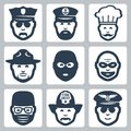 Vector profession occupation icons set avatar police officer and captain chef ranger anti terrorist robber surgeon fireman and Royalty Free Stock Images