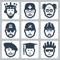 Vector profession occupation icons set king doctor and scientist trucker repairman builder artist graduating student and cyclist Stock Photography