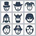 Vector professionoccupation icons set profession magician and cowboy jester knight viking soldier paratrooper pirate and pilot Royalty Free Stock Photography