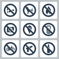 Vector prohibitory signs icons set no smoking no dogs no fire no cameras no icecream no cell phones no bicycles no guns no alcohol Stock Photo