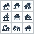 Vector property insurance icons set Royalty Free Stock Photo