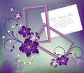 Vector purple background with flowers  two frames Stock Photography