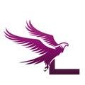 Vector Purple Brave Hawk Initial L Logo