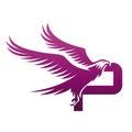 Vector Purple Brave Hawk Initial P Logo