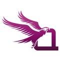 Vector Purple Brave Hawk Initial Q Logo