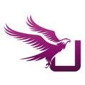 Vector Purple Brave Hawk Initial U Logo
