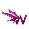 Vector Purple Brave Hawk Initial W Logo