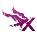 Vector Purple Brave Hawk Initial X Logo