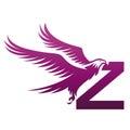 Vector Purple Brave Hawk Initial Z Logo