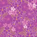 Vector purple and pink tropical flowers hibiscus and frangipani seamless pattern background. Perfect for fabric, scrapbooking,
