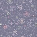 Purple Spring Garden Tea Party Seamless Pattern