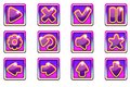 Vector purple square collection set glass buttons for Ui Royalty Free Stock Photo