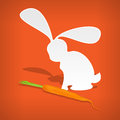 Vector rabbit with carrot white Stock Photo