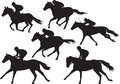 Vector of racing horses with jockeys collection set drawings in black silhouettes Royalty Free Stock Photo