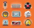 Vector radio icon set (orange background)