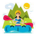 Vector Rafting Girl. Flat style colorful Cartoon illustration.