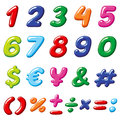 Vector rainbow candy numbers and glossy funny cartoon children alphabet symbols