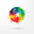 Vector rainbow grungy watercolor arrow icon inside circle with paint stains and blots