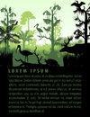 Vector rainforest wetland silhouettes in sunset design template with heron, deer, gator, turtle, kingficher and cormorant