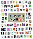 Vector ransom note cut paper letters numbers symbols newspaper and magazine and mixed upper case and lower case and multiple Stock Photos