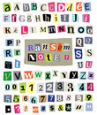 Vector ransom note cut paper letters numbers symbols newspaper and magazine and mixed upper case and lower case and multiple Stock Photo