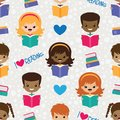 stock image of  Vector Reading Kids Seamless Pattern