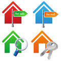 Vector real estate cocnept house icons bright with signs for sale for rent searching keys Royalty Free Stock Photos