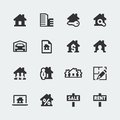 Vector real estate icons set mini Royalty Free Stock Image