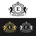 Vector real estate monogram logo templates.Luxury letters design.Graceful vintage characters with crown and lion symbols
