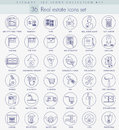 Vector real estate outline icon set. Elegant thin line style design Royalty Free Stock Photo