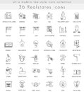 Vector Real estates house ultra modern outline line icons for web and apps.