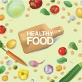 Vector realism style illustration about healthy food. The cutting board is surrounded by cereals, vegetables and nuts
