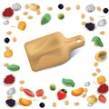 Vector realism style illustration about healthy food. The cutting board is surrounded by fruits, vegetables and nuts