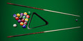 Vector realistic billiard balls and cues on the table. Royalty Free Stock Photo