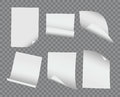 Vector realistic blank bent and curled paper collection on trans