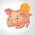 Vector realistic cartoon pig piggy bank with coin Royalty Free Stock Photo
