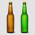 Vector realistic 3d empty glossy brown and green beer bottle with cap icon set closeup isolated on transparency grid Royalty Free Stock Photo