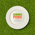 Vector realistic 3d illustration of white plate on green grass lawn. Picnic in park. Banner, poster design template.