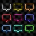 Vector realistic different color neon rectangle speech bubbles on dark transparent background. Rectangle speech bubble