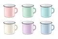 Vector realistic enamel metal in pastel colors - pink, green, blue - mug set on white background. EPS10 design