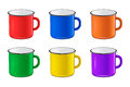 Vector realistic enamel metal red, blue, green and yellow mug set on white background. EPS10 design template